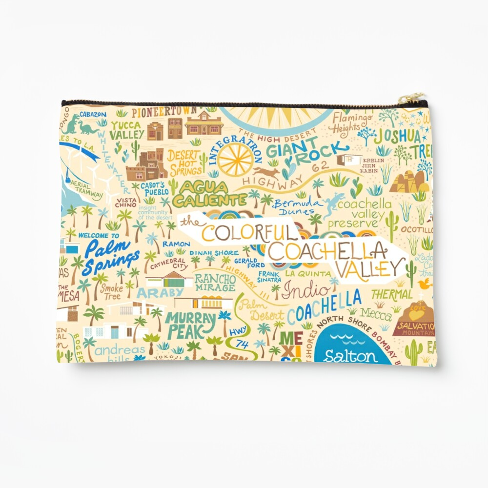 Coachella Valley Illustrated Map - Palm Springs, Joshua Tree Zipper Pouch