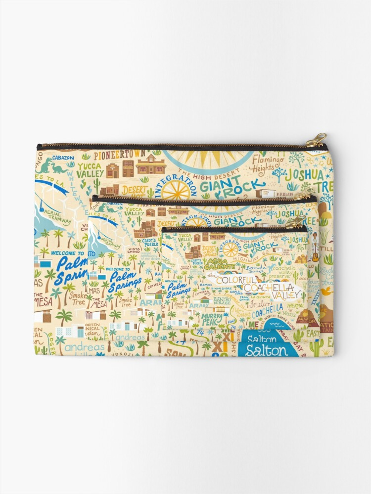 Alternate view of Coachella Valley Illustrated Map - Palm Springs, Joshua Tree Zipper Pouch