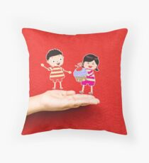 boy and girl with cupcake on a hand Throw Pillow