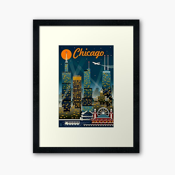 """CHICAGO"" Vintage Travel Advertising Print Framed Art Print"