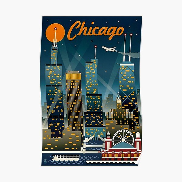"""CHICAGO"" Vintage Travel Advertising Print Poster"