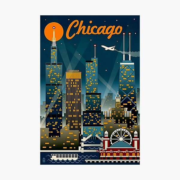 """CHICAGO"" Vintage Travel Advertising Print Photographic Print"
