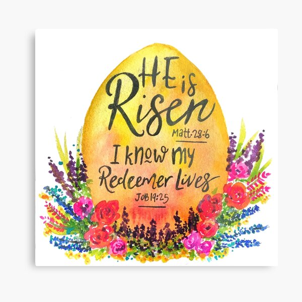 He is Risen watercolor Metal Print