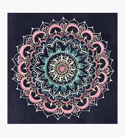 Pink, Cream & Soft Turquoise Glow Medallion on Navy Photographic Print