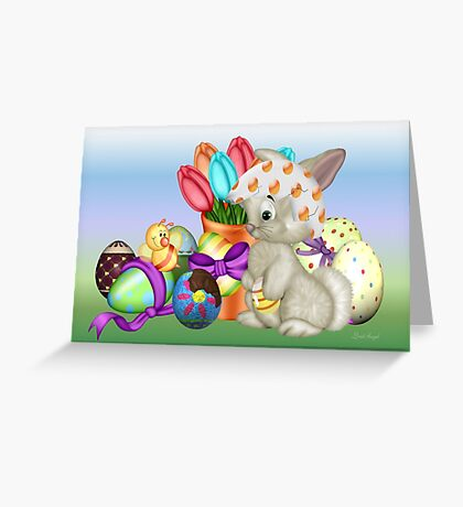 Bunny with lots of chocolate eggs Greeting Card