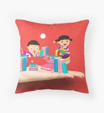 kids studying book on a hand Throw Pillow