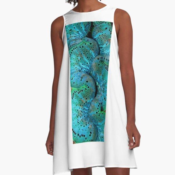 Sinusoidal in Blue A-Line Dress
