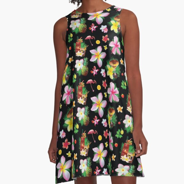 Tiki cocktails tropical aloha fun A-Line Dress