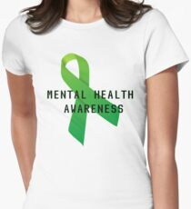 Mental Health Awareness Ribbon w/ light outer glow Women's Fitted T-Shirt