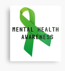 Mental Health Awareness Ribbon w/ light outer glow Metal Print