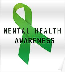Mental Health Awareness Ribbon w/ light outer glow Poster