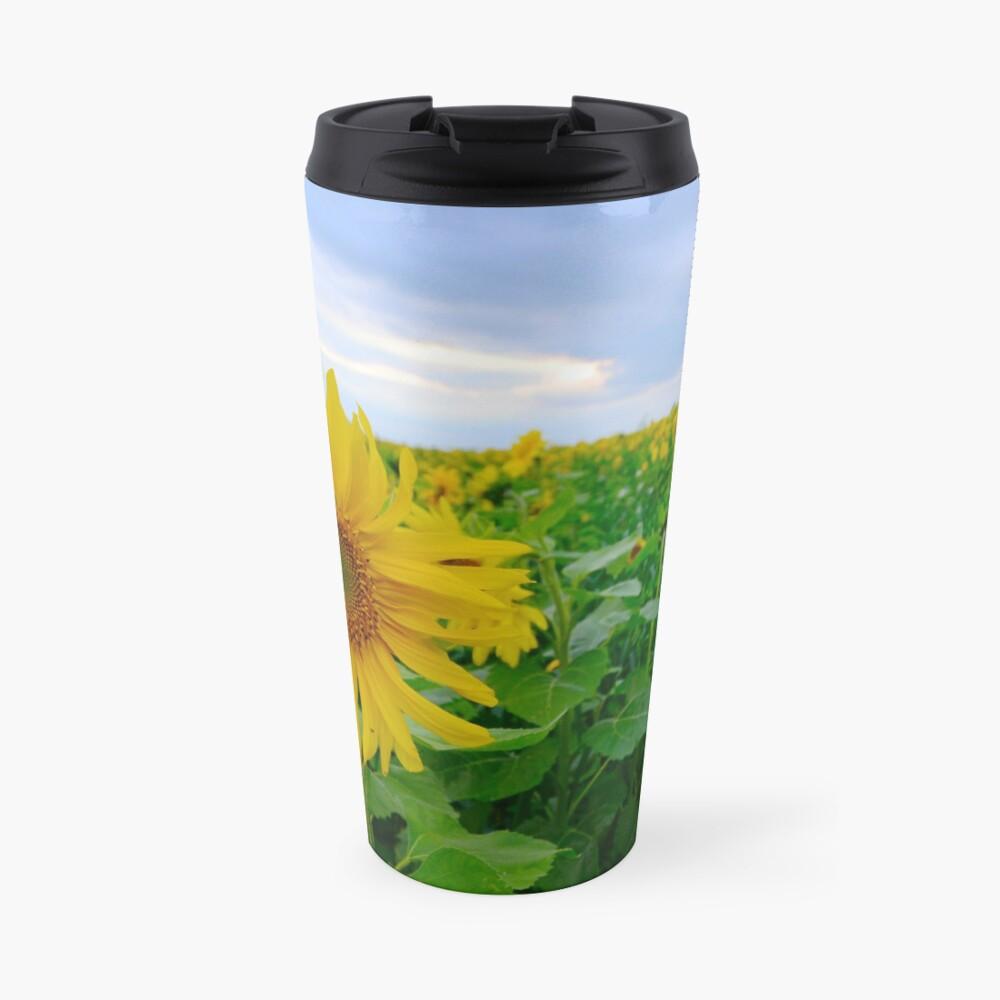 Sunflowers under a blue sky Travel Mug