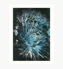 Aussie Polar Bear's Rear Paw Print in Blue & White on Black Art Print