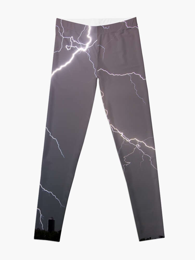 Alternate view of Lightning in a steely gray sky Leggings