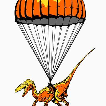 Parachuting Raptor by LazerBears