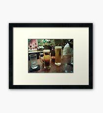 drinking beer Framed Print
