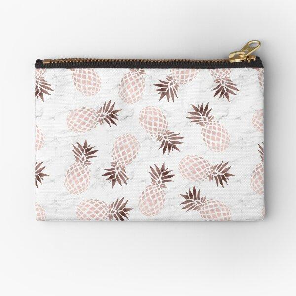 Elegant white marble rose gold pineapple Zipper Pouch