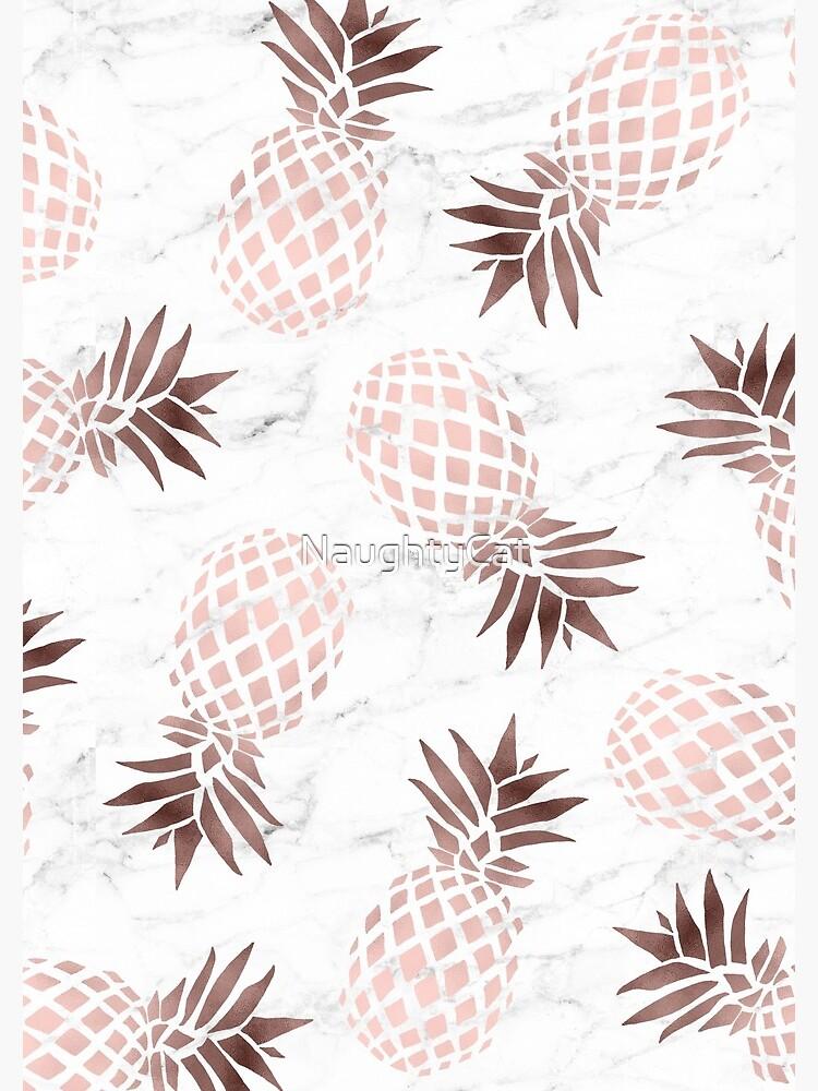 Elegant white marble rose gold pineapple by NaughtyCat