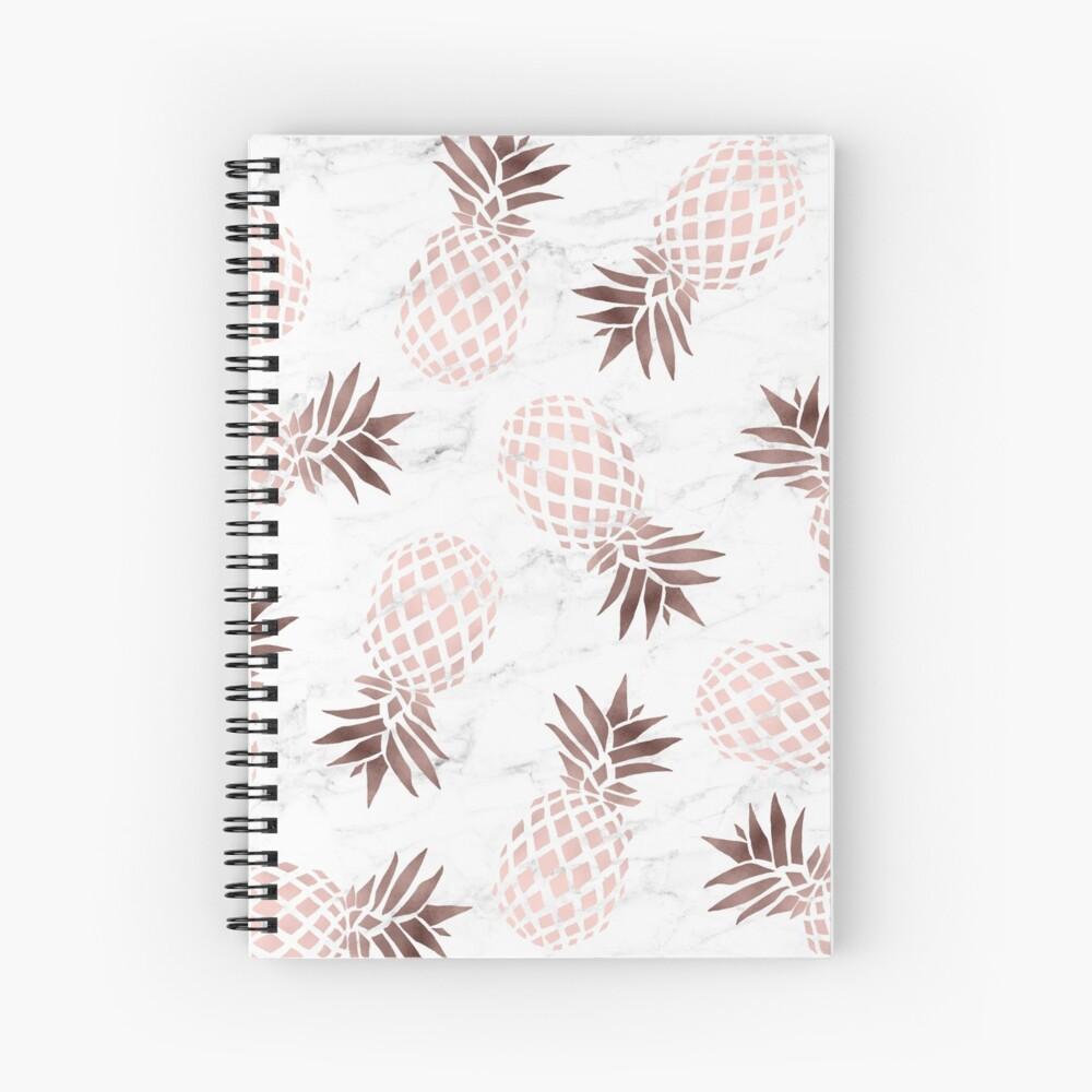 Elegant white marble rose gold pineapple Spiral Notebook