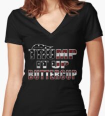 Trump It Up Butter Cup  Women's Fitted V-Neck T-Shirt
