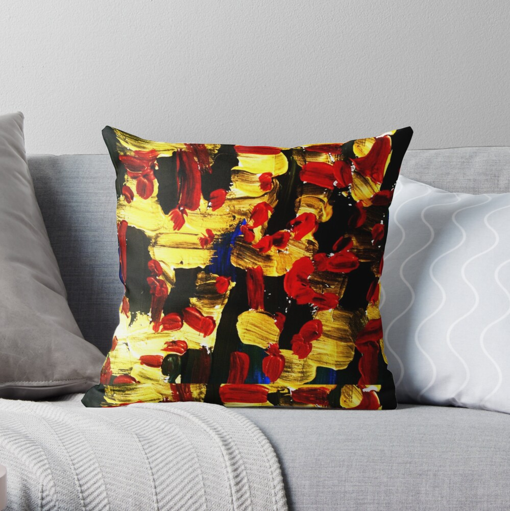 Red, gold, black Throw Pillow