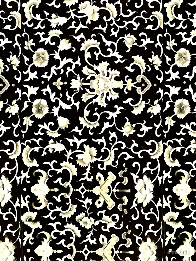 Chinese floral motifs in black white  cream  by almawad