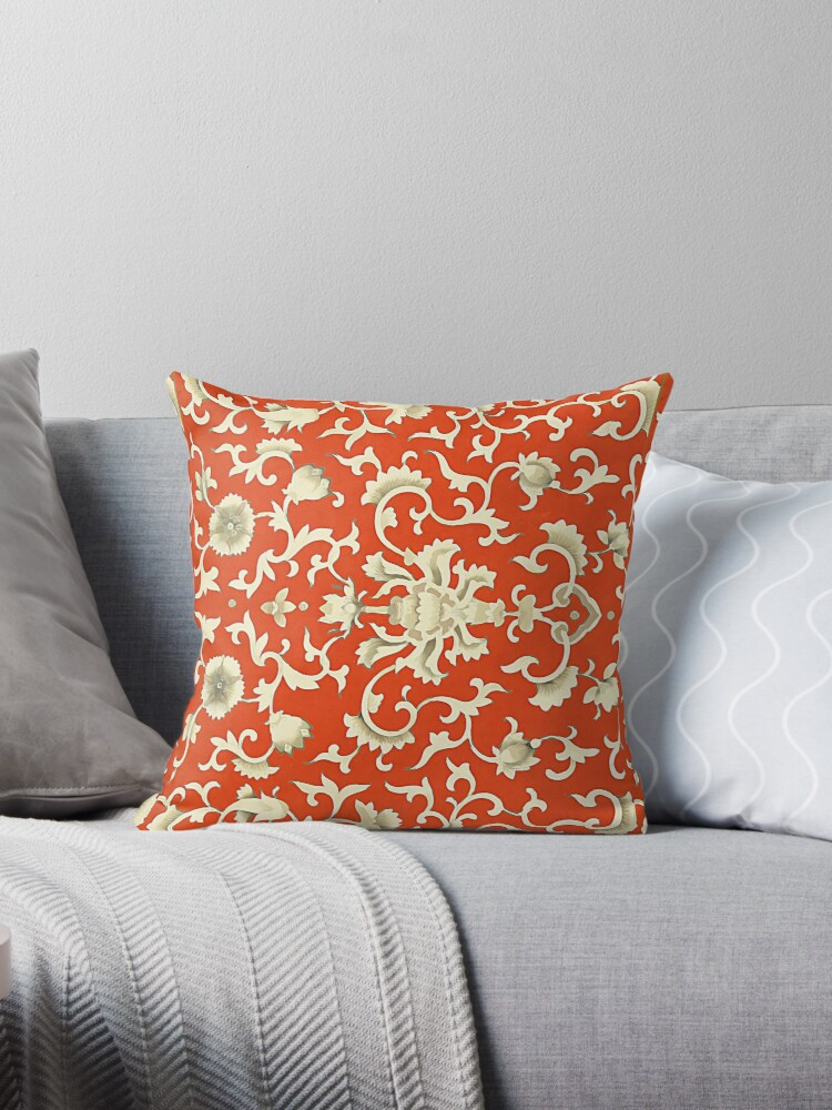 Chinese pattern in red and cream by almawad