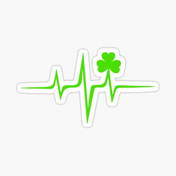 Music Pulse Irish, Frequency, Wave, Heartbeat, Shamrock Sticker