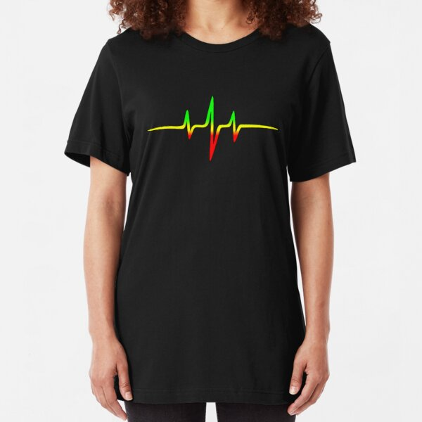 Music Pulse, Reggae, Heartbeat, Rastafari, Jah, Jamaica, Rasta Slim Fit T-Shirt