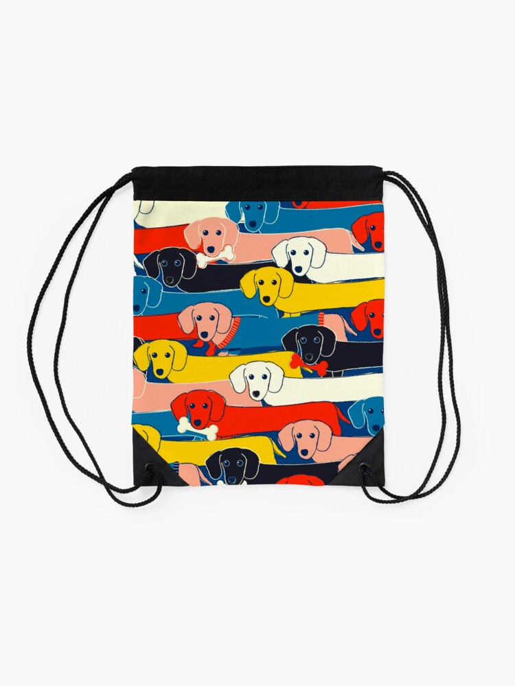 Alternate view of COLORED CUTE DOGS PATTERN 2 Drawstring Bag