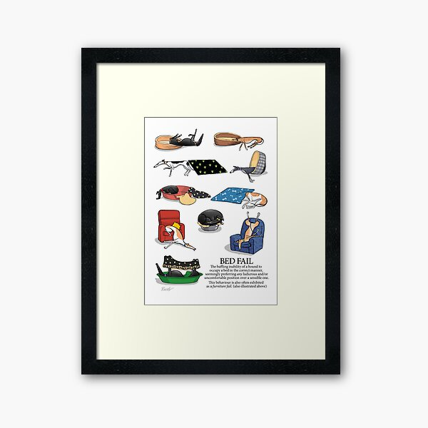 Greyhound Glossary: Bed Fail. A Redbubble exclusive design Framed Art Print