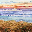 Land, Sea, Sky (mixed media on paper) by Lynne Henderson