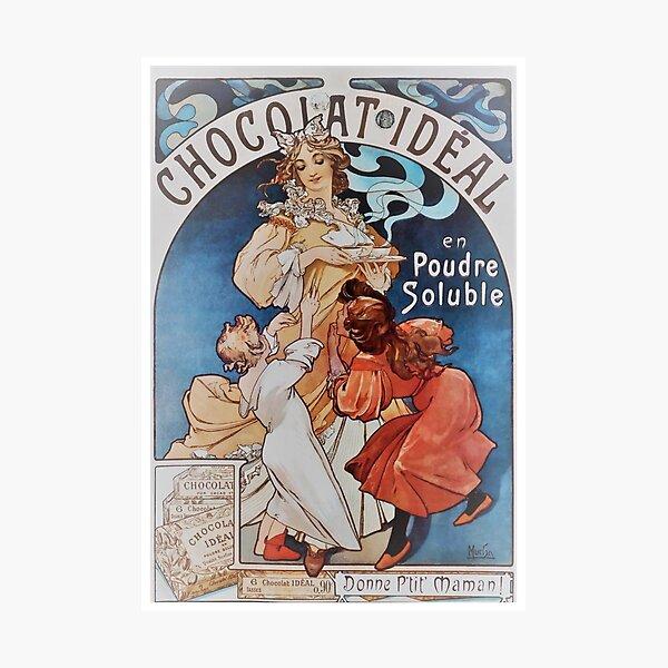 Vintage Alphonse Mucha - Chocolat  Ideal 1897 Art Nouveau Photographic Print