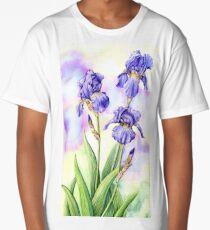 Bearded Iris (watercolour on paper) Long T-Shirt