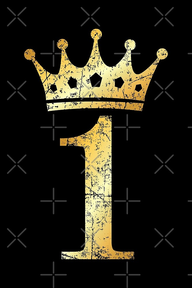 Crown Number 1 Birthday & Anniversary (Ancient Gold)\