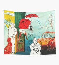 Composition Painting - Umbrella girl with woman  Wall Tapestry