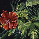 Hibiscus (acrylic and gouache on black card) by Lynne Henderson