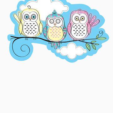 Owls trio by sallyally