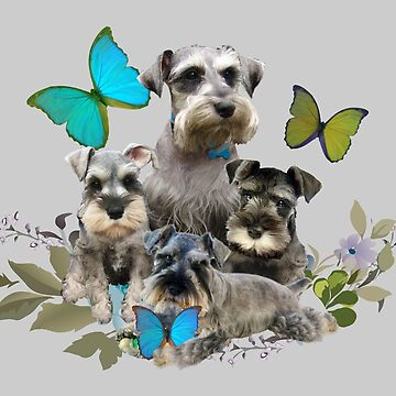 Miniature Schnauzer Puppies And Butterflies Friskybizpet Designs by Friskybizpets
