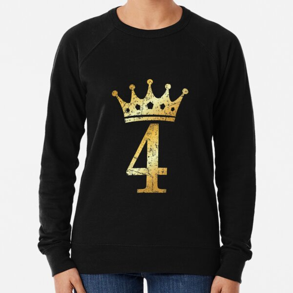 Crown Number 4 - 4th Birthday & Anniversary (Ancient Gold) Lightweight Sweatshirt