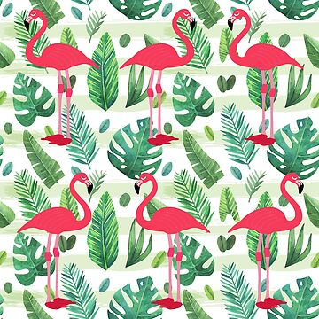 Flamingos in jungle by Sasya
