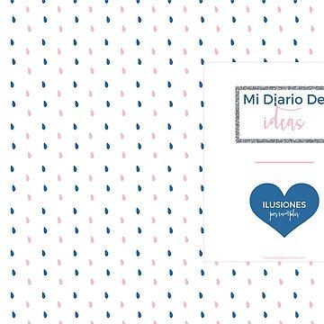 Diario de Ideas con gotas y corazón navy de elperrodepapel
