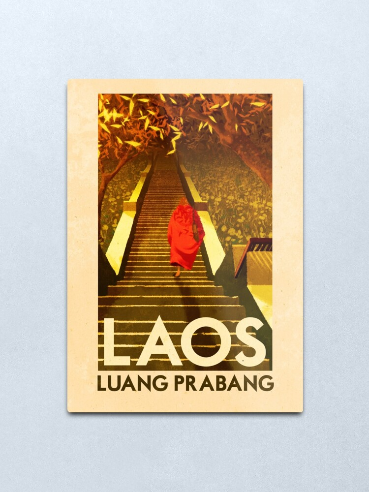 Alternate view of Travel Posters - Luang Prabang Laos Metal Print