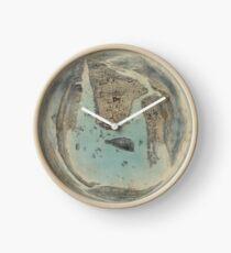 Reloj Mapa ilustrado circular de la vendimia de Nueva York (1859)