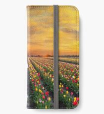 Sunset over colorful Tulip flower fields in full bloom spring season in Woodburn Oregon iPhone Wallet/Case/Skin