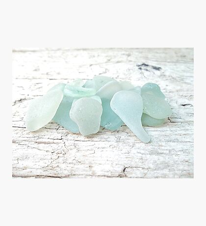 Sea Foam Sea Glass Pale Pastels on White Photographic Print