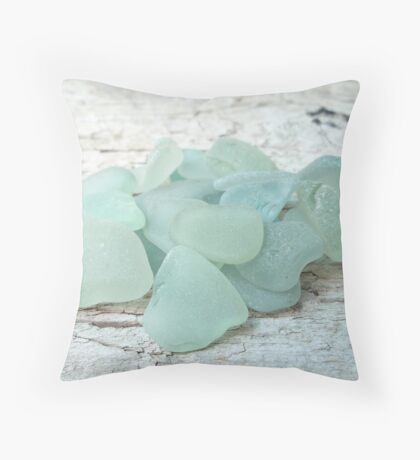 Sea Foam Sea Glass Pieces on Pale Wood Throw Pillow