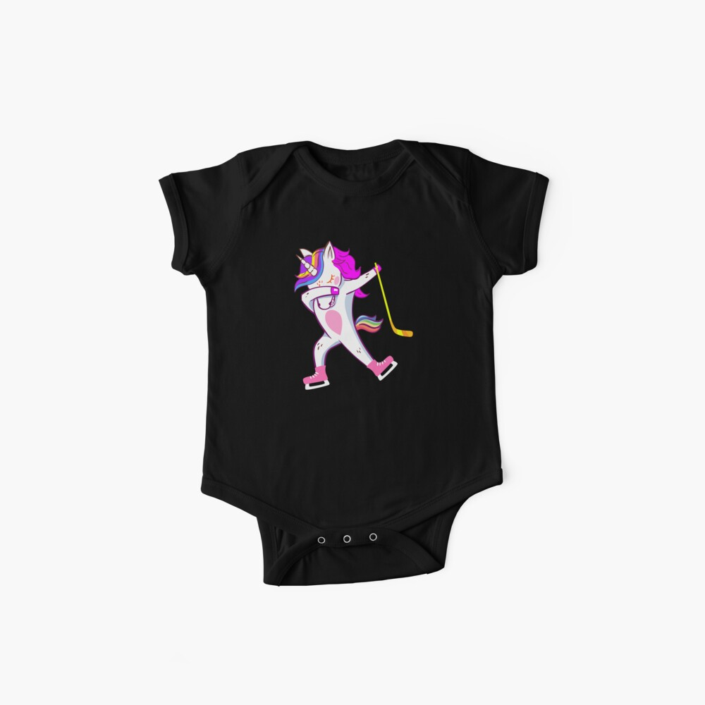 Funny Dabbing Hockey Unicorn Bodies para bebé