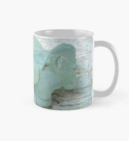 Sea Foam Sea Glass Pieces on Pale Wood Mug