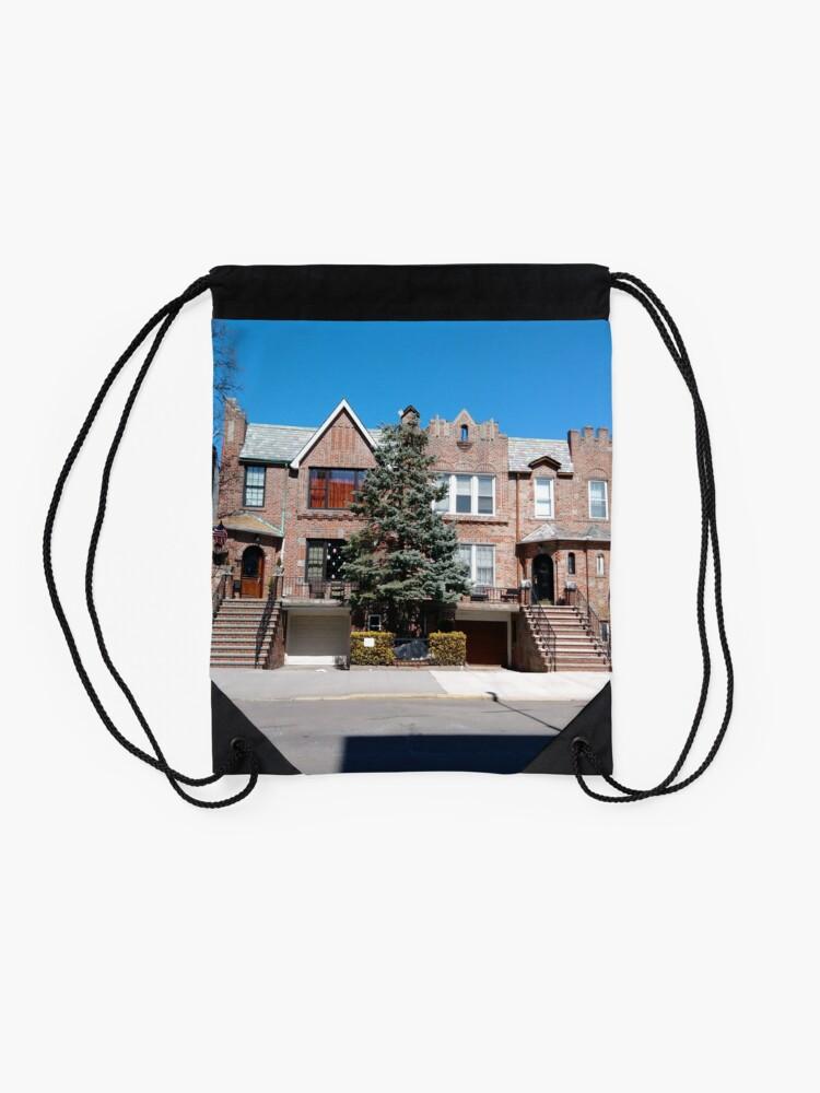 Alternate view of New York City, New York, Brooklyn, Manhattan, building, house Drawstring Bag
